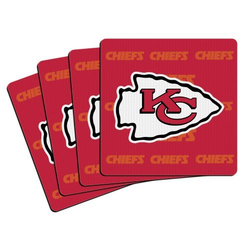 NFL Kansas City Chiefs Neoprene Coaster, 4-Pack ()