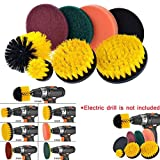 Carvicto - Drill Brush Scrub Pads 8 Piece Power Scrubber Cleaning Kit All Purpose Cleaner Scrubbing Cordless Drill for Cleaning Pool 24