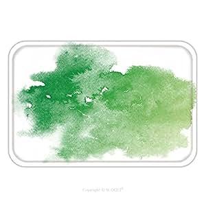 Franela de microfibra antideslizante suela de goma suave absorbente Felpudo Mat Alfombra Carpet Abstract Watercolor verde sobre fondo blanco el color salpicaduras de sobre el papel es un mano Drawn 527878441para interior/
