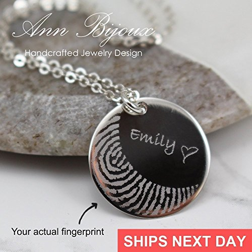 Sterling Silver Actual Fingerprint Necklace Engraved Fingerprint Thumbprint Family Name Jewelry Memorial Gift Meaningful (Sterling Silver Couples Name Pendant)