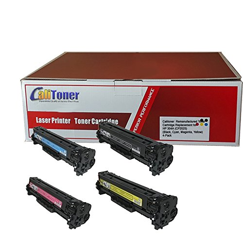 Calitoner Remanufactured Toner Cartridge Replacement for HP 304A (CP2025) (Black, Cyan, Magenta, Yellow, 4-Pack) ()
