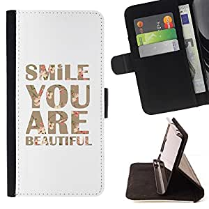 Momo Phone Case / Flip Funda de Cuero Case Cover - Sonrisa Usted es hermoso texto motivación - LG Nexus 5 D820 D821