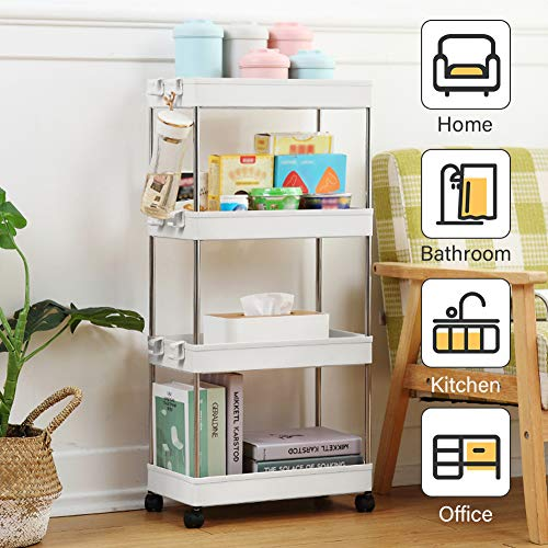 4-Tier Utility Rolling Cart Mobile Storage Organizer Shelving Tower Rack, Mobile Shelving with 3 Large Storage Baskets, Large Out Pantry on Rollers for for Office, Kitchen, Bedroom, Bathroom, White
