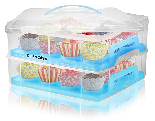 DuraCasa Cupcake Carrier | Cupcake Holder | Store up to 24 Cupcakes or 2 Large Cakes | Stacking Cupcake Storage Container | Cupcake, Cookie, or Cake Dessert Carrier (Blue)