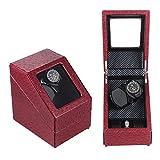 KAIHE-BOX Luxury PU Single 2+2 Watch Winder (3 color ) Display Box Case [100% Handmade] , red