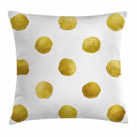Gold and White Throw Pillow Cushion Cover by Ambesonne, Ombre Polka Dots Circles Ancient Coins Inspired Brush Print Like Image, Decorative Square Accent Pillow Case, 18 X 18 Inches, Yellow and - Polka Dots Teen Bedroom