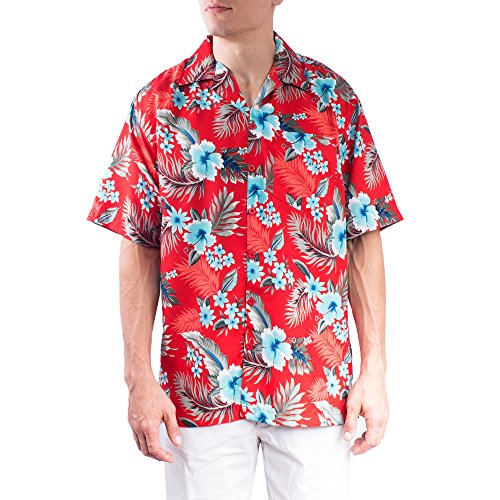 Price comparison product image Hawaiian Shirt For Men | Mens Short Sleeve Button Up Casual Printed Shirts (#HWS-0220 Red,XX-Large)