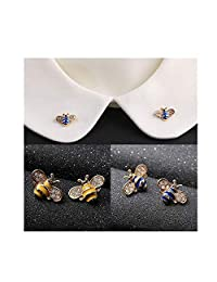 WSERE 4 Pieces Bee Brooch Pin Brooches Exquisite Small Cute Breastpin  Rhinestone Collar Brooch Pins for b71cddb87a91