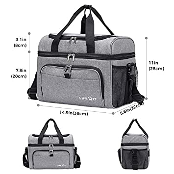 Lifewit Collapsible Cooler Bag 36-Can Insulated Leakproof Soft Cooler Portable Double Decker Cooler Tote for Beach Picnic Sports, Grey