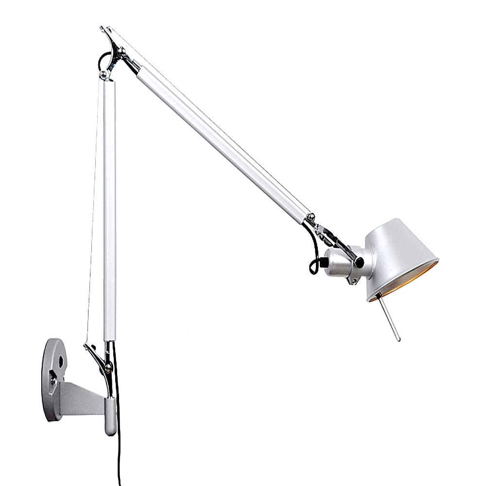 NIUYAO Industrie Wandleuchten Wandlampe Aluminium mit Lighting Lange Schwinge Einstellbarer Winkel-Silbrig