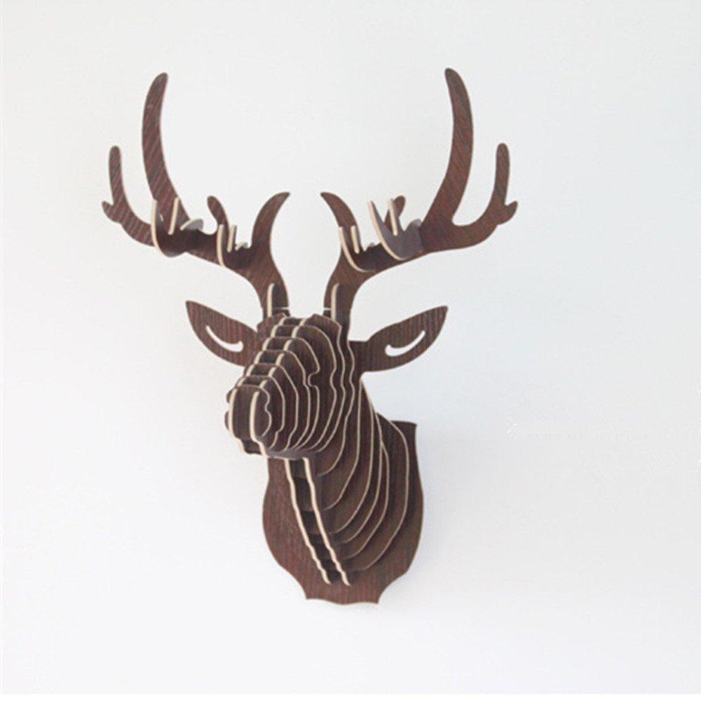 delightful Deer Head Wall Art Part - 11: Amazon.com: DUOLAIMENG DIY 3D Wooden Puzzle Model Elk Deer Head Wall  Decoration Animal Sculpture Ornament Wall Art Decor (Walnut): Kitchen u0026  Dining