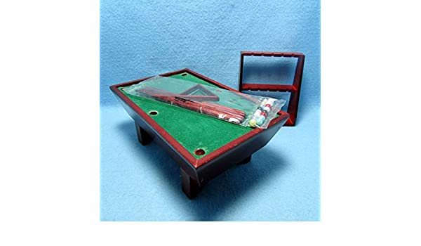 Dollhouse Miniature Pool Table in Mahogany with Complete Accessories ~ CLA91323