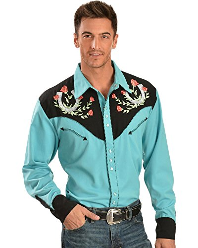 Scully Men's Rose and Horseshoe Embroidered Retro Western Shirt Turquoise X-Large from Scully