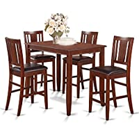 East West Furniture BUCK5-MAH-LC 5-Piece Counter Height Table Set, Mahogany Finish