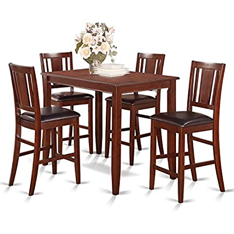 East West Furniture BUCK5 MAH LC 5 Piece Counter Height Table Set Mahogany Finish