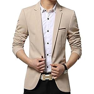 YIMANIE Men's Blazer Jacket Slim Fit Casual Single One Button Premium Lightweight Blazer Coat