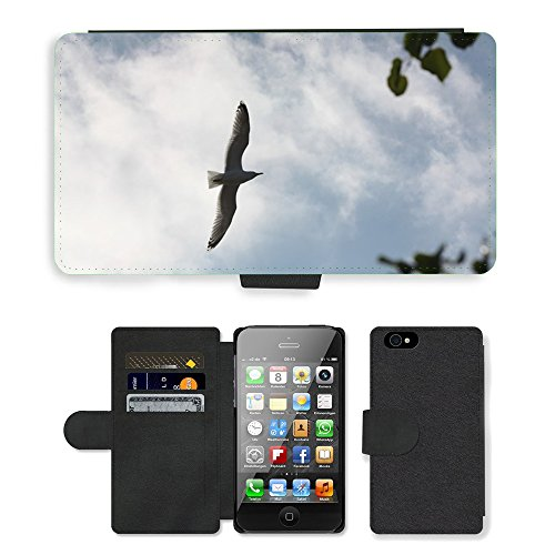 Just Phone Cases PU Leather Flip Custodia Protettiva Case Cover per // M00127629 Seagull Sky Oiseau mouche nature // Apple iPhone 4 4S 4G