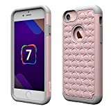 iPhone 7 Case, [4.7 Inch] by HLCT, Soft Interior Silicone Bumper & Hard Shell Solid PC Back, Shock-Absorption & Skid-Proof, Anti-Scratch Hybrid Dual-Layer Slim Cover (Rose Gold)