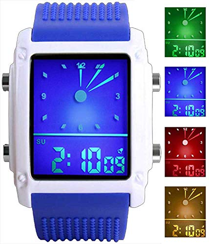 Men's Rectangle Dial Sports Wrist Watches with 7 Colors Optional LED Backlight Multifunctional Alarm Stopwatch 12/24H Rubber Strap Watch (Blue)