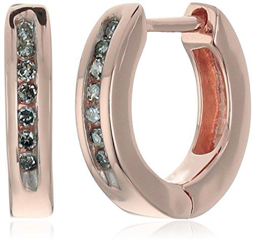 18k Gold Diamond Hoop (18k Rose Gold Over Sterling Silver Diamond Huggie Earrings (1/10 cttw, I-J Color, I2-I3 Clarity))