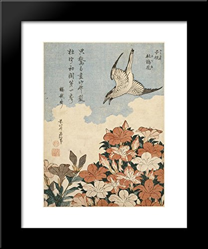 Cuckoo and Azaleas 20x24 Framed Art Print by Katsushika Hokusai