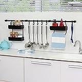 Multipurpose Kitchen Utensil Organizer Holder, Spice Rack, Towel Rack (Black/Black)