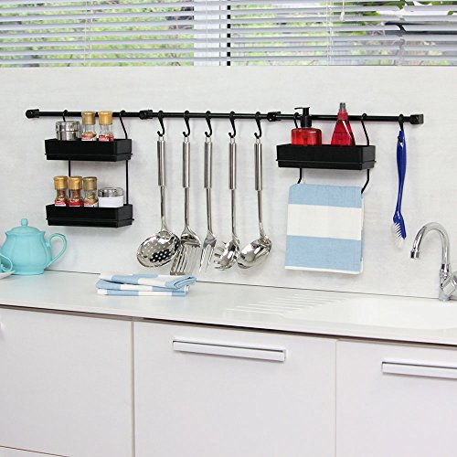 Multipurpose Kitchen Utensil Organizer Holder, Spice Rack, Towel Rack (Black/Black) by Metaltru America