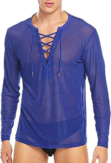 Agoky Camiseta de Malla Transparente para Hombres Manga Larga Pijamas T-Shirt Blusa Verano Lencería Sexy Vestir de Club Traje de Noche Disfraz Erótica Hombre: Amazon.es: Ropa y accesorios