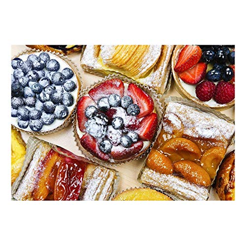wall26 - Background of Assorted Fresh Sweet Tarts and Pastries from Above - Removable Wall Mural | Self-Adhesive Large Wallpaper - 66x96 inches