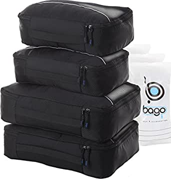 4 Travel Packing Cubes For Luggage/Suitcase with 6 Toiletry and Laundry Organizers