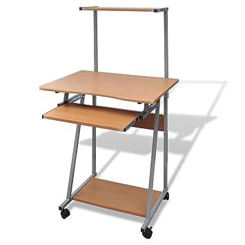 vidaXL Computertisch Schreibtisch B/ürotisch Computerwagen PC-Tisch Rollen braun