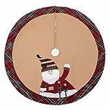 iPEGTOP 42'' Christmas Tree Skirt - Santa Xmas Tree Skirt Holiday Decoration Ornaments Camel Non-woven & Tartan Border