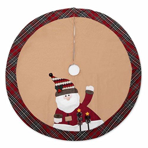 iPEGTOP 42'' Christmas Tree Skirt - Santa Xmas Tree Skirt Holiday Decoration Ornaments Camel Non-woven & Tartan Border by iPEGTOP (Image #6)