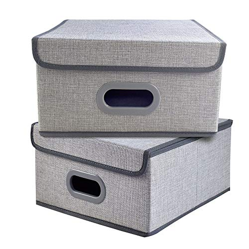 - Homyfort Stackable Cloth Storage Bins with Lid- 2 Pack, Flodable Cubes Box Baskets Containers Organizer for Closet, Shelf, Nursery, Cabinet, with 2 Plastic Handles, Linen Gray