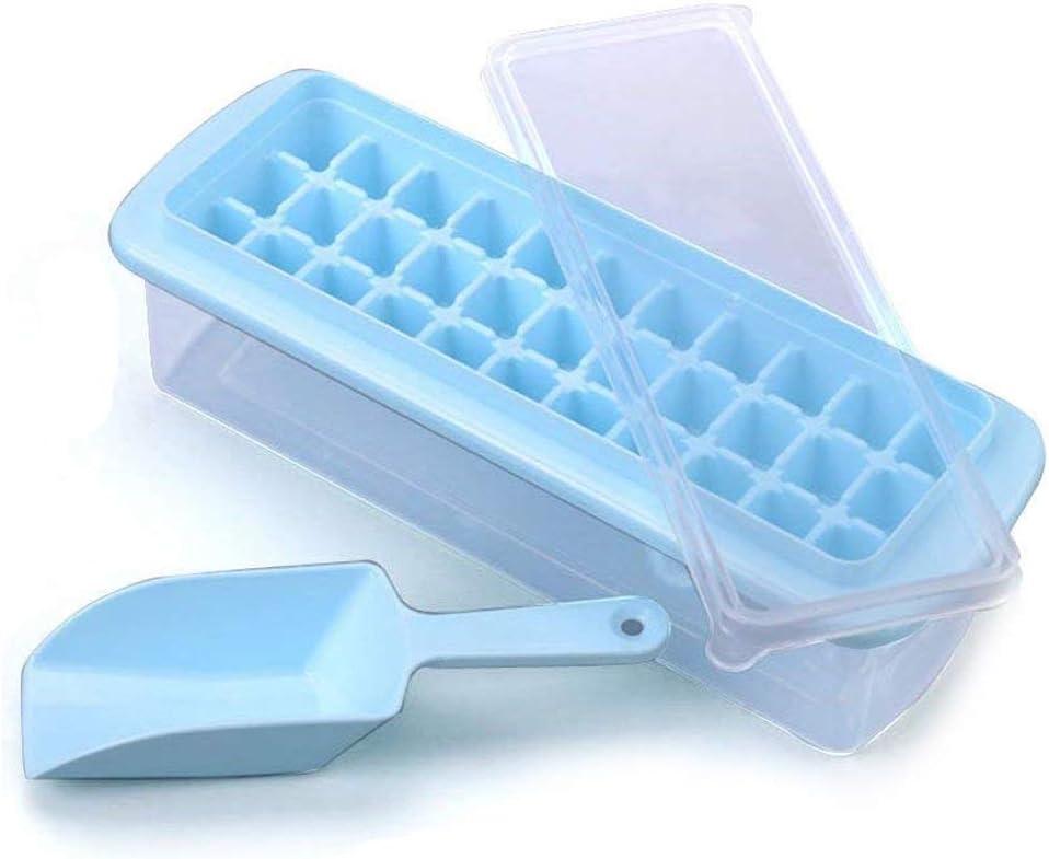 2 x Bac à glaçons avec couvercle No Spill Easy Pop out Moule Congélateur