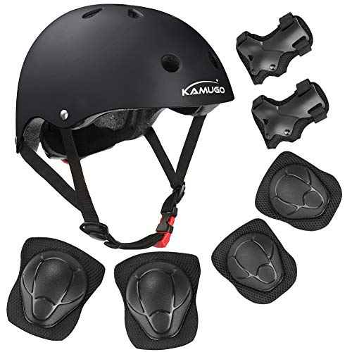 KAMUGO-Kids-Bike-Helmet-Toddler-Helmet-for-Ages-3-8-Boys-Girls-with-Sports-Protective-Gear-Set-Knee-Elbow-Wrist-Pads-for-Skateboard-Cycling-Scooter-Rollerblading-CPSC-Certified