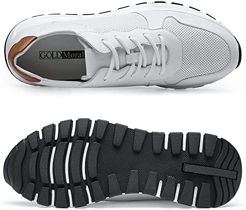 51rFLYlBqhS. AC GOLDMoral Men Shoes Elevator for Man Men's Fashion Sneakers Mens White Leather Running    Product Description
