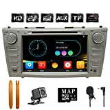 SWTNVIN 8 Inch Car Stereo for 2007 2008 2009 2010 2011 Toyota Camry,Double Din In Dash Car Radio Support Navigation Bluetooth Audio Radio DVD Play,Free 8G Map Card & Backup Camera & Microphone