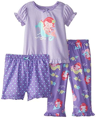 Little Me Baby Girls' Rmaid 3 Piece Pajamas, Purple/Multi, 18 Months