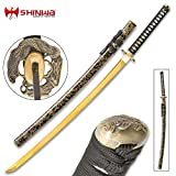 #3: Shinwa Firefly Handmade Katana/Samurai Sword - 1045 Carbon Steel - Faux Ray Skin - Dueling Dragon/Serpent Tsuba - Hardwood Saya, Black-and-Gold Spatter Pattern