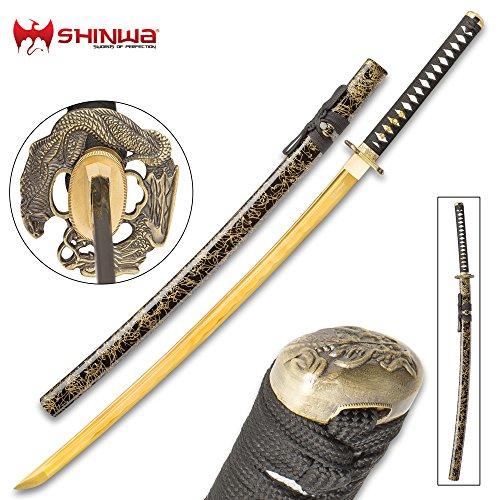 Tsuba Display - Shinwa Firefly Handmade Katana/Samurai Sword - 1045 Carbon Steel - Faux Ray Skin - Dueling Dragon/Serpent Tsuba - Hardwood Saya, Black Gold Spatter Pattern