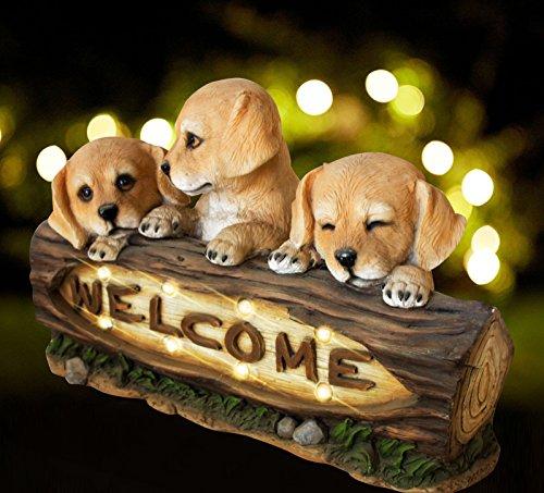 Animals Garden Statue (Garden Statue with Solar Powered LED Lights, 15 Inch Puppy Dog Decor for Outdoor Garden Yard)