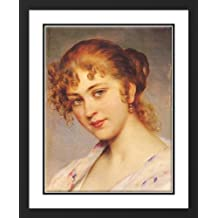 A Portrait Of A Young Lady 25x29 Framed and Double Matted Art Print by Blaas, Eugene de