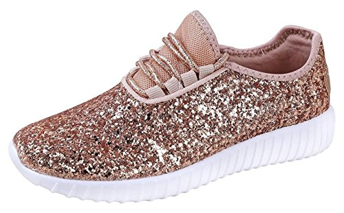 Forever Link Womens Closed Round Toe Sparkling Glitter Lace Up Fitness Trainer Gym Fashion Sneakers 8 Rose (Womens Gym Shoes)