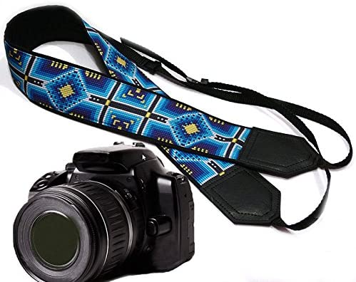 Code 00078 Light Weight and Well Padded Camera Strap Camera Strap Inspired by Native American Durable Black Southwestern Ethnic Camera Strap Bright Tribal DSLR//SLR Camera Strap