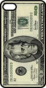 Twenty Dollar Bill Cash Money President Andrew Jackson Black Plastic Case for Apple iPhone 5 or iPhone 5s