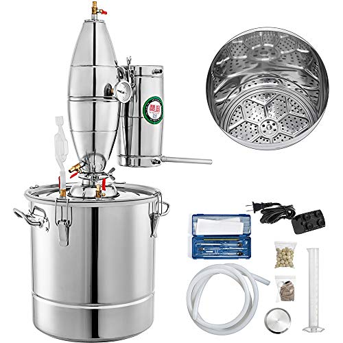 VEVOR 30L 7.9Gal Water Alcohol Distiller 304 Stainless Steel Moonshine Still Wine Making Boiler Home Kit with Thermometer for Whiskey Brandy Essential, 13.78 x 13.78 Inches1 Tank, Sliver