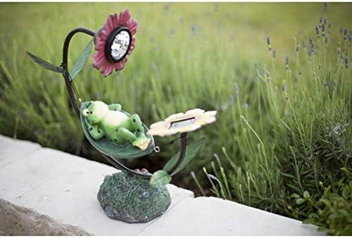 Solar LED Leuchte Frosch Gilbert Gartenfigur Solarleuchte Garten Deko Licht NEU