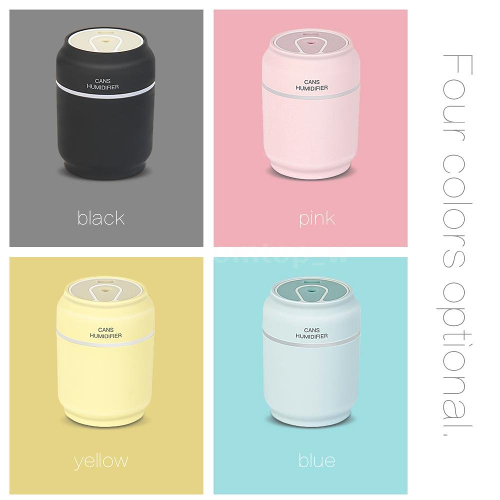 iCreation Mini Humidifier 3-in-1 Portable Mist Humidifier with USB Fan, LED Light, Auto Shut Off Protection (Black)