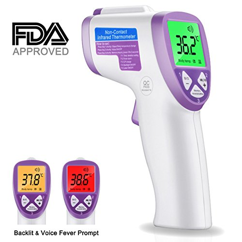 ADVcer Baby Infant Non-contact Digital Thermometer [ FDA Approved ] - Forehead Instant Read Infrared IR Laser Temperature Gun - Cordless, Memory Recall, Dual Mode of Body and Object (Battery Operated) (Temp Pet Animal Instant)